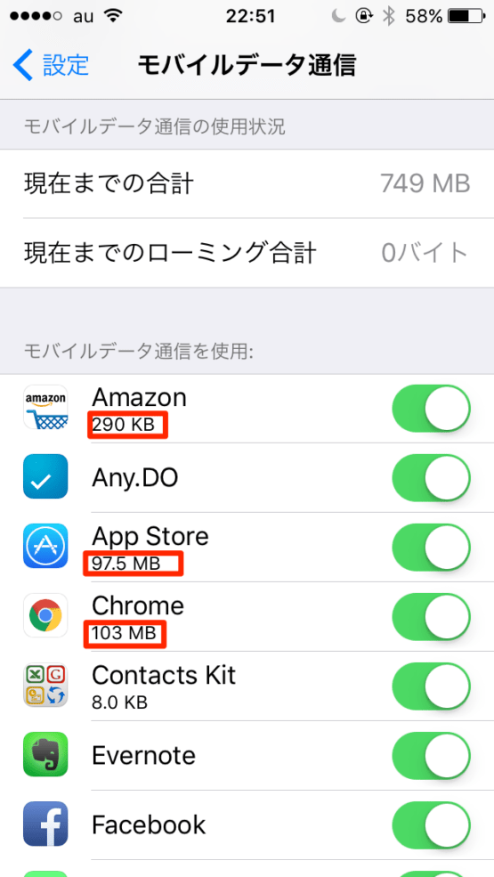 iphoneの通信量の確認